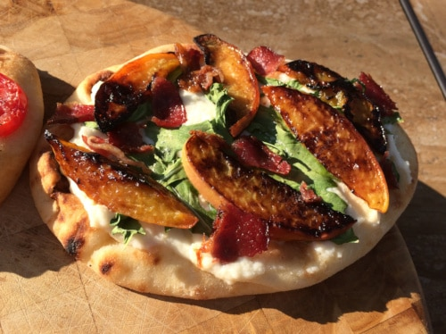 Riccota Peach Bacon Naan Pizza Recipe